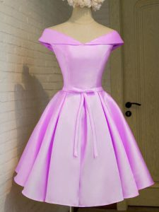 Lilac Cap Sleeves Knee Length Belt Lace Up Dama Dress for Quinceanera