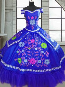 Taffeta Short Sleeves Floor Length Quinceanera Dresses and Beading and Embroidery