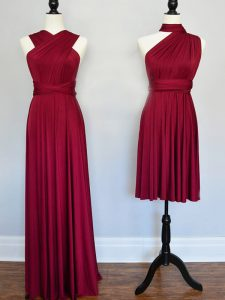 Luxury Burgundy Lace Up Quinceanera Court Dresses Ruching Sleeveless