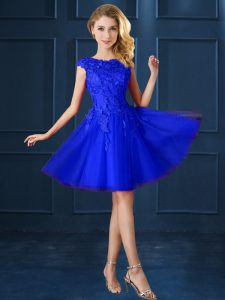 Blue Tulle Lace Up Bateau Cap Sleeves Knee Length Quinceanera Court of Honor Dress Lace and Belt