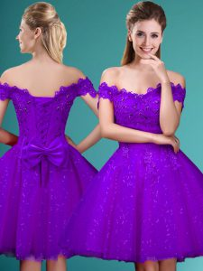 Customized Knee Length A-line Cap Sleeves Eggplant Purple Damas Dress Lace Up