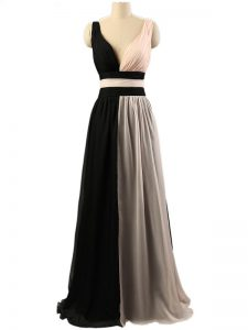 White And Black Chiffon Criss Cross Quinceanera Dama Dress Sleeveless Floor Length Ruching