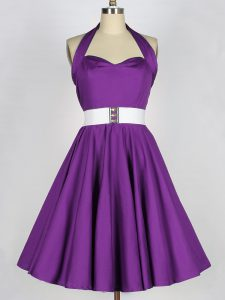 Popular Knee Length A-line Sleeveless Eggplant Purple Quinceanera Court of Honor Dress Lace Up