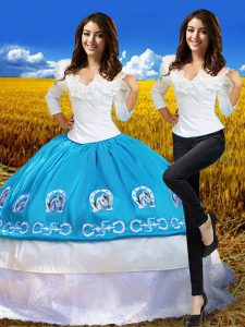 Simple Off The Shoulder 3 4 Length Sleeve Sweet 16 Quinceanera Dress Floor Length Embroidery Blue And White Taffeta