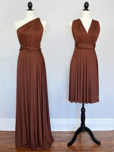 Deluxe Brown Empire Chiffon One Shoulder Sleeveless Ruching Floor Length Lace Up Quinceanera Court Dresses