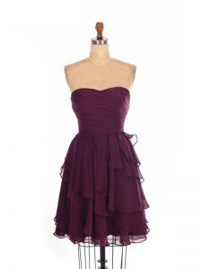 Great Burgundy Empire Sweetheart Sleeveless Chiffon Mini Length Zipper Ruffled Layers Damas Dress