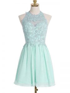 Elegant Sleeveless Knee Length Appliques Lace Up Quinceanera Court of Honor Dress with Apple Green