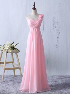 Excellent Empire Damas Dress Baby Pink One Shoulder Chiffon Sleeveless Floor Length Zipper