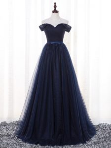 Amazing Floor Length Lace Up Damas Dress Navy Blue for Prom and Party and Wedding Party with Belt