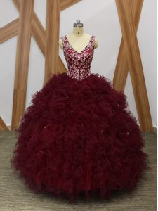 Sophisticated Burgundy Sleeveless Organza Backless Quince Ball Gowns for Military Ball and Sweet 16 and Quinceanera