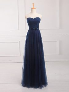 Navy Blue Lace Up Sweetheart Belt Quinceanera Court Dresses Tulle and Lace Sleeveless