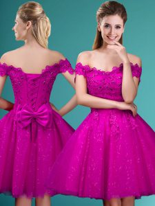 Fashionable Fuchsia Lace Up Off The Shoulder Lace and Belt Court Dresses for Sweet 16 Tulle Cap Sleeves