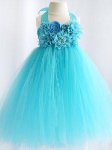 Aqua Blue Tulle Side Zipper Halter Top Sleeveless Knee Length Kids Formal Wear Hand Made Flower