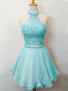 New Arrival Knee Length Aqua Blue Quinceanera Dama Dress Halter Top Sleeveless Lace Up