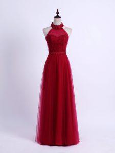 High End Sleeveless Lace Up Floor Length Lace and Appliques Vestidos de Damas