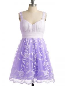 Cheap Lavender Empire Straps Sleeveless Lace Knee Length Lace Up Lace Dama Dress for Quinceanera