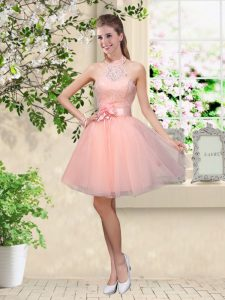 Pretty Peach Sleeveless Tulle Lace Up Damas Dress for Prom and Party
