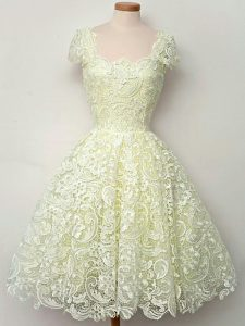 Yellow Straps Lace Up Lace Quinceanera Dama Dress Cap Sleeves