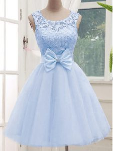 Dynamic Scoop Sleeveless Tulle Quinceanera Court of Honor Dress Lace Lace Up