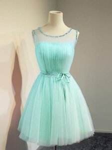 Flirting Knee Length Empire Sleeveless Apple Green Quinceanera Court of Honor Dress Lace Up
