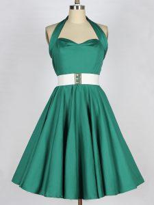 Low Price Knee Length Dark Green Dama Dress for Quinceanera Taffeta Sleeveless Belt