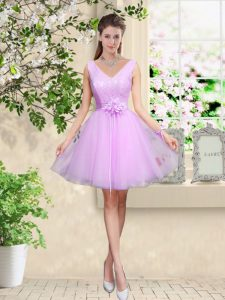 Sweet Knee Length Lace Up Dama Dress Lilac for Prom and Party with Lace and Belt