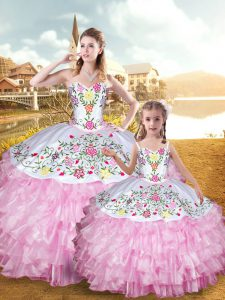 Floor Length Lace Up Quinceanera Dresses Rose Pink for Military Ball and Sweet 16 and Quinceanera with Embroidery and Ruffled Layers