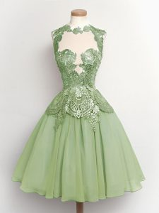 Pretty Sleeveless Chiffon Knee Length Lace Up Dama Dress for Quinceanera in Green with Lace