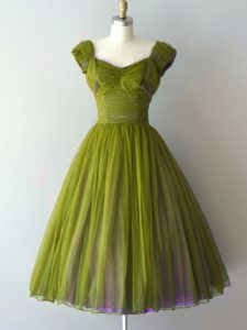 Olive Green Chiffon Lace Up V-neck Cap Sleeves Knee Length Court Dresses for Sweet 16 Ruching