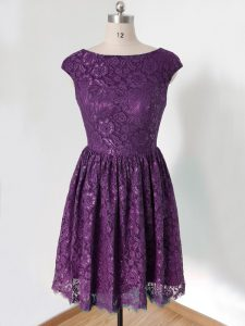 Artistic Scoop Sleeveless Damas Dress Knee Length Lace Dark Purple Lace