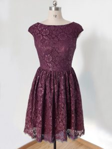 New Arrival Dark Purple Quinceanera Dama Dress Prom and Wedding Party with Lace Scoop Cap Sleeves Lace Up