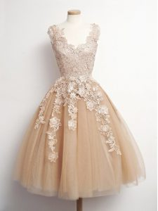 Stunning Brown Lace Up Quinceanera Court of Honor Dress Appliques Sleeveless Knee Length