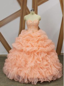 Admirable Peach Sweetheart Lace Up Beading and Ruffles and Pick Ups Quince Ball Gowns Sweep Train Sleeveless