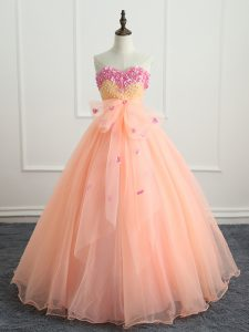 Peach Sleeveless Organza Lace Up Ball Gown Prom Dress for Military Ball and Sweet 16 and Quinceanera