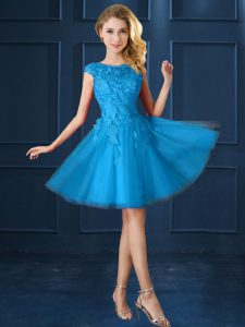 Exquisite Bateau Cap Sleeves Dama Dress Knee Length Lace and Belt Baby Blue Tulle