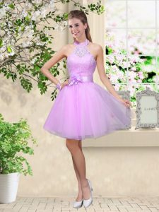 Delicate Lavender Tulle Lace Up Quinceanera Court Dresses Sleeveless Knee Length Lace and Belt