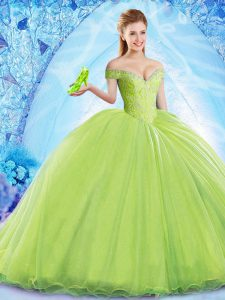 Modern Yellow Green Off The Shoulder Neckline Beading Quinceanera Gown Sleeveless Lace Up