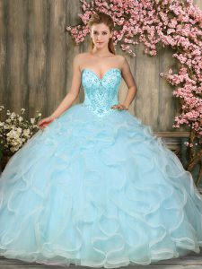 Fabulous Beading and Ruffles Sweet 16 Quinceanera Dress Aqua Blue Lace Up Sleeveless Floor Length