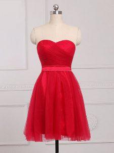 Red Sleeveless Mini Length Ruching Zipper Court Dresses for Sweet 16