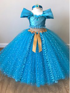 Lovely Tulle Cap Sleeves Floor Length Little Girls Pageant Dress Wholesale and Sequins and Belt