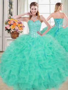 Elegant Sweetheart Sleeveless Quince Ball Gowns Floor Length Beading and Ruffles Turquoise Organza
