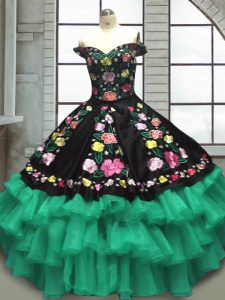 On Sale Organza and Taffeta Sleeveless Floor Length Sweet 16 Dresses and Embroidery and Ruffled Layers