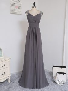 Enchanting Chiffon Straps Cap Sleeves Brush Train Zipper Lace and Ruching Dama Dress for Quinceanera in Grey