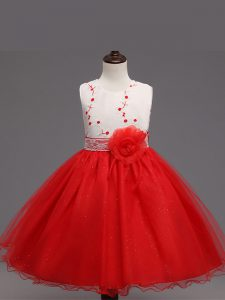Red Ball Gowns Appliques and Hand Made Flower Little Girls Pageant Gowns Zipper Organza Sleeveless Knee Length