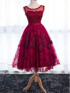 Perfect Fuchsia Sleeveless Tea Length Lace Zipper Dama Dress for Quinceanera