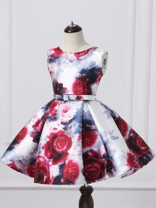 Nice Printed Scoop Sleeveless Zipper Pattern and Belt Pageant Gowns For Girls in Multi-color