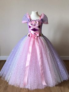 Multi-color Cap Sleeves Tulle Side Zipper Kids Pageant Dress for Wedding Party