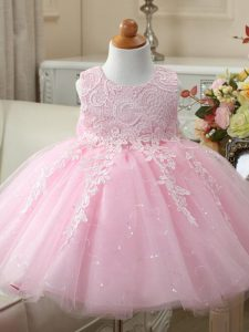 Beauteous Baby Pink Tulle Zipper Scoop Sleeveless Knee Length Little Girl Pageant Dress Appliques and Bowknot