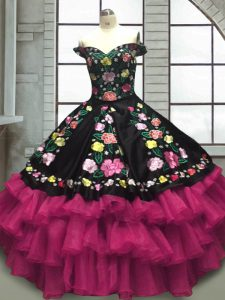 Luxury Multi-color Sleeveless Floor Length Embroidery and Ruffled Layers Lace Up Quinceanera Dresses