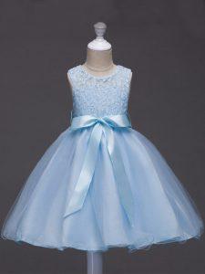 Trendy Light Blue Ball Gowns Lace and Belt Little Girls Pageant Dress Wholesale Zipper Tulle Sleeveless Knee Length